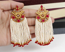 Indian Bollywood Fashion  Red Stone  Pearl Tassel Earring Partywear  Jewelry
