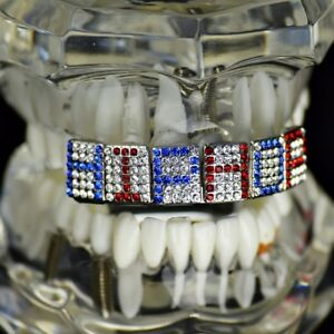 Custom Grillz Customized Name Mixed Red & Blue Choose Up To 6 Letters Top Teeth