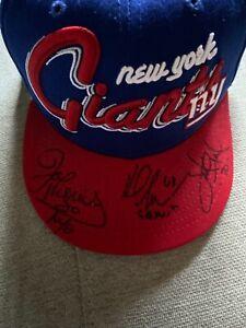 New York Giants Hat signed by Joe Morris Karl Nelson and Leonard Marshal