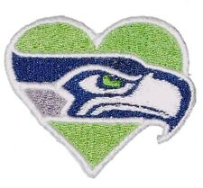 """Seattle Seahawks (S-HEART) Iron On Patch 2 1/2"""" X 2 1/8"""" Embroidered Team Logo"""