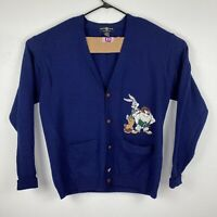 Vintage Warner Brothers Wool Cardigan Sweater 1995 Bugs and Taz XL