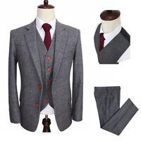 Wool Blend Men Gray Suit Herringbone Plaid Tweed Formal Tuxedo Party Prom Suit