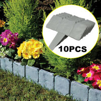 10 FLEXIBLE GARDEN LAWN GRASS EDGING PICKET BORDER PANEL PLASTIC FOR WALL FENCE