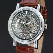 Winner Casual Automatic Skeleton Mechanical Brown Leather Band Men's Wrist Watch
