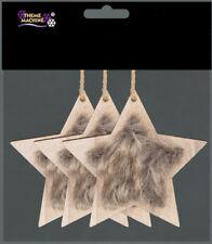 3 x Natural Faux Fur Star Scandi Style Christmas Tree Hanging Decorations 92979cf5ec6e3