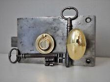"""Ancienne Serrure de Porte """"A.M """" Révisée, 2 Clés et Poignée Olive Laiton, Lock"""