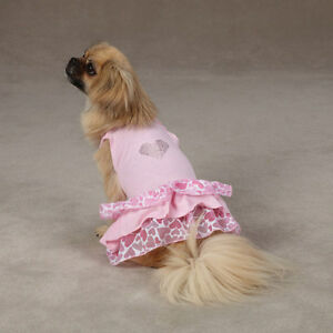 East Side Collection® SWEETHEART Dog Dress Pink Rhinestone Heart Appliqué