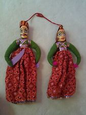 Rajasthani Doll Set Hanging Decor India Handmade Wooden Hand Painted
