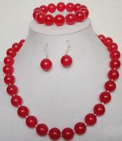 beautiful Natural 12MM red jade gem round bead necklace bracelet earrings set