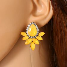 Fashion Elegant Flower Crystal Rhinestone Ear Clip Dangle Drop Ear Stud Earrings