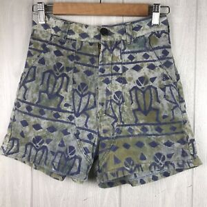 NWOT Vintage Handmade One Of A Kind High Waist Tribal Print Shorts Size Small