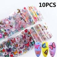 10PCS BUTTERFLY Nail Art Foils Nail Transfer Foil Wraps Decal Glitter Sticker UK