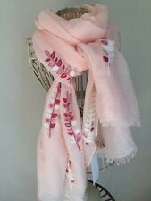 EMBROIDERED LEAF/LEAVES PALE CORAL/PINK SOFT SCARF BNWT.