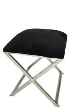 HAMPTON STAINLESS STEEL BLACK HIDE OTTOMAN STOOL 45 cm