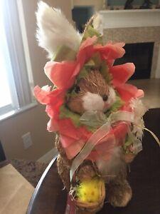 "Pier 1 Hop Town Bunny Gardner Pink 15"" Rabbit Decoration Easter Spring Eugenia"