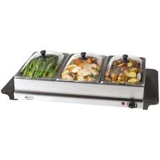 Buffet Server 7.5 Qt Stainless Steel Warming Tray 3-Crocks Adjustable Thermostat