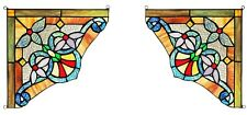 """Set of 2 Victorian Tiffany Style Stained Glass Corner Window Panel 10"""" Decor"""