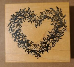 """PSX Designs Rubber Stamp Floral Heart Wreath K-244 Roses Flowers 4"""" #AB111"""