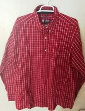 Chaps Mens Shirt Long Sleeved Shirt Size XL Red Plaid Easy Care
