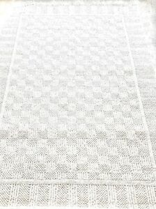 Karastan Rug 5.3x8.3 Chaumiere Collection 291/0810 Ivory Textured Squares II VTG