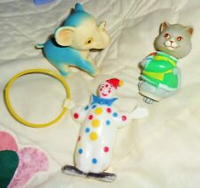 3 Vintage Toys: 2 Celluloid - Clown & Cat - Rubber Elephant Hong Kong 1975