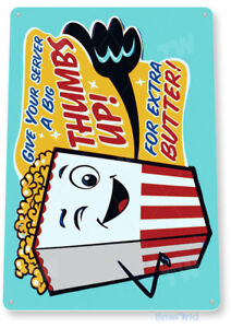 TIN SIGN Thumbs up Popcorn Metal Décor Wall Art Theater Kitchen Store Bar A652