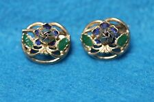 Lovely Vintage Petite Set Of 2 Gold Tone Painted Blue & Green Cabbage Rose Pins