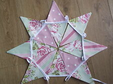 SHABBY CHIC CLARKE & CLARKE SAGE & PINK FLORAL STRIPE POLKA DOT FABRIC BUNTING