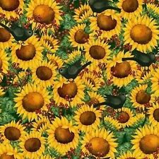 Fat Quarter Time to Harvest Sunflower and Blackbirds Cotton Quilting Fabric