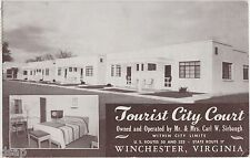 Virginia VA Postcard 1951 WINCHESTER Tourist City Court Interior Roadside 2view