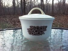 Corelle Batik Brown Flower Pattern Coffee Cup Sugar & Lid Corning Ware Vtg 70s