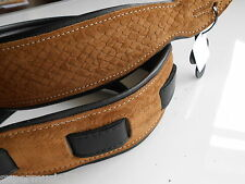 UK MADE EMBOSSED BEIGE PYTHON DELUXE PADDED GENUINE SUEDE LEATHER GUITAR STRAP