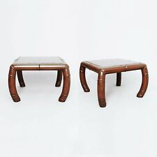 Pair Faux Bamboo And Grey Marble Side Tables Midcentury modern art deco regency