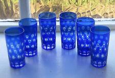 6 x Bohemien Cobalt Blue Taglia per cancellare VETRO BICCHIERI alto 14cm