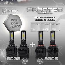 9006 9005 4PCS LED Total 144W 16000LM Combo Headlight High 6000K White Kit Bulbs