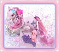 ❤️My Little Pony MLP G1 VTG Glittery Sweetheart Sister Bright Night Purple Bow❤️
