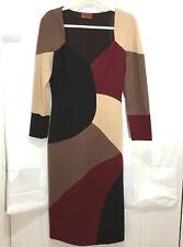 MISSONI Italy orange tag burgundy brown tan Knit Dress Size 44/8 sweetheart long