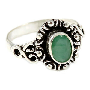 Emerald Faceted Solid 925 Sterling Silver Solitaire Ring Jewelry GESR187A