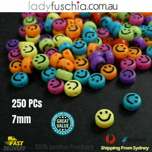 Smiley Face Pony Beads 250pc Fun Mix 7mm DIY Jewellery Spacer Acrylic Hair FREE