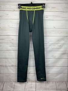 Boys Gray/Lime Green Nike Pro Combat Leggings Compression Pants Youth Large used