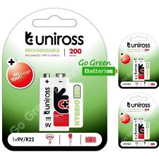 3 x Uniross Hybrio 9V 200 mAh NiMH Rechargeable Battery, Stay Charged 9 Volt PP3