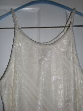 NWT Ivory lace dress w/beaded straps Wedding dress by Cachet size 10 form fitted