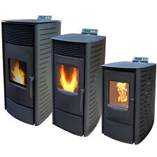 Nemaxx Pellet Stove 3 - 11.5 kW Fire Woodburning Heating Stoves Iron Burning