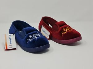DR LIGHT FOOT  WOMENS SLIPPERS LADIES WIDE FIT CUSHIONED ADJUSTABLE FLEECE SHOES
