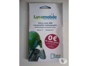 carte sim  lyca mobile neuve (reseau bouygues) sans crédit - Puce Lyca