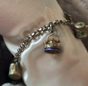 Bracelet Breloques Vintage En Vermeil Et Email Import China 50's