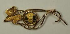 1962 Caciques De Venezuela 5 Bolivares .900 Gold Coin In 18KT Leaf Brooch 7.7g