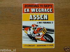 STICKER,DECAL EK WEGRACE 11 SEPT ASSEN + WK FORMULE 2 MOTORCYCLE