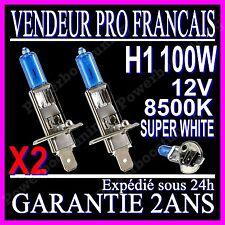KIT DE 2 AMPOULES LAMPES HALOGENE PHARE XENON GAZ SUPER WHITE H1 100W 8500K 12V