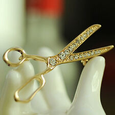 AS_ GN- Lovely Handmade Rhinestone Scissor Gold-Plated Brooch Pin Jewelry Gift N